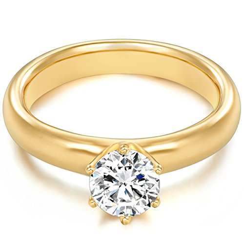 Tresor 1934 Annelli da Donna / Anello di fidanzamento / Solitario in Argento Sterling 925 dorato oro giallo Zircone bianco Taglia 22 60451019