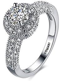 Karatcart Platinum Plated Elegant Austrian Crystal Royal Queen Designer Solitaire Ring for Women