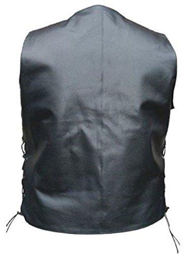 Celebrita X Leather Waist Coat WIth Pocket Vest mouton Noir
