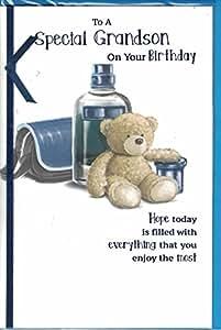 """Geburtstagskarte für den Enkel """"Grandson"""", zu einem Super Grandson Happy Birthday """", Motiv Bär auf ME - 38608"""