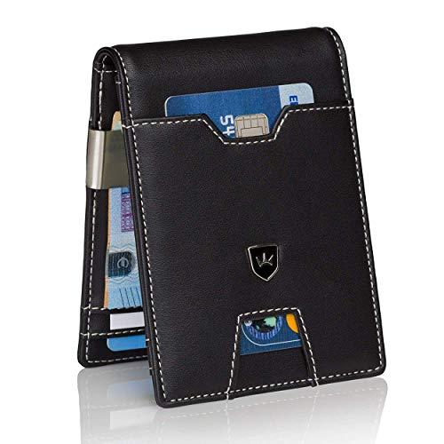 Kronenschein® Premium Geldbörse Herren mit Geldklammer Portemonnaie Männer schlank Geldbeutel RFID Brieftasche Slim-Wallet Portmonee Kreditkartenetui