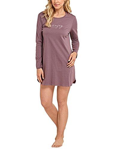 Schiesser Selected Premium Sleepshirt 1/1 Arm, 85cm, Chemise de Nuit Femme Marron - Braun (dunkelbraun 301)