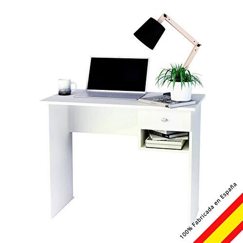 Samblo - Ecritorio con cajón, varios colores, mesa de estudio de 90 cm de ancho, hana, melamina, madera contrachapada, color blanco