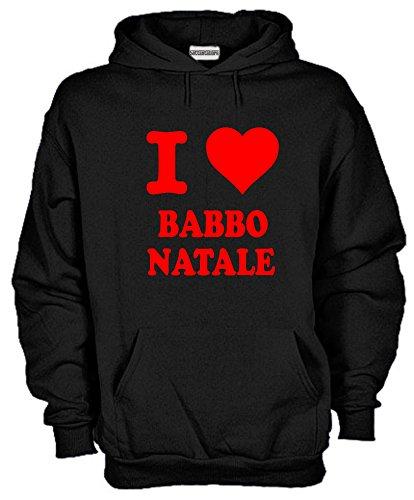 Settantallora - Felpa con cappuccio KJ882 I Love Babbo Natale Taglia L