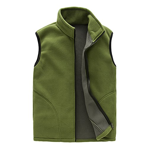 Zhuhaitf Salut-qualité Outdoor Mens Womens Sports Zipper Respirant Fleece Soft Shell Body Warmer Unisex Vest Gilet Outwear Green-Mens