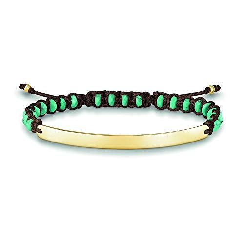 Thomas Sabo Damen-Armband Love Bridge 925 Sterling Silber 750 gelbgold vergoldet Nylon türkis Länge von 14.5 bis 21 cm Brücke 5 cm LBA0056-896-17-L21v