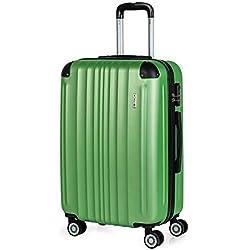 ITACA - 771060 Maleta Trolley 60 cm Mediana de ABS Texturizado. Rígida, Resistente, Robusta y Ligera. Mango Telescópico, 2 Asas. 4 Ruedas, Color Morado