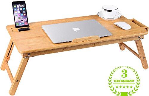 Laptop Tablett Schreibtisch Nnewvante Verstellbare Laptop Schreibtisch Tisch 100% Bambus Faltbares Frühstück Serving Bett Tablett w 'Schublade (Reise-laptop-tisch)