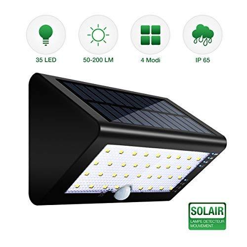 Solar Wandleuchte, SGODDE 35 LED Solarlampe mit Bewegungsmelder,Sicherheits-Wasserdichte Licht Sensor mit 4 in 1 Intelligenten Modi,Solarleuchten für Garten, Innenhöfe, Balkons, Einfahrt -