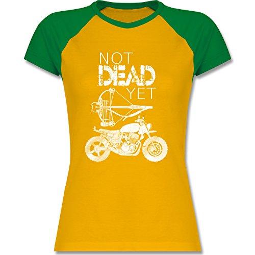 Statement Shirts - Not Dead Yet - Motorrad Armbrust - XXL - Gelb/Grün - L195 - zweifarbiges Baseballshirt / Raglan T-Shirt für Damen (Raglan-motorrad)