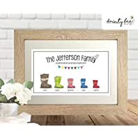 Personalised Printed Picture Gift Welly Boot Family - A4 & 8x10 ** Personalised and framed to Order ** Birthday Friendship Love Wedding Housewarming Unique Unusual