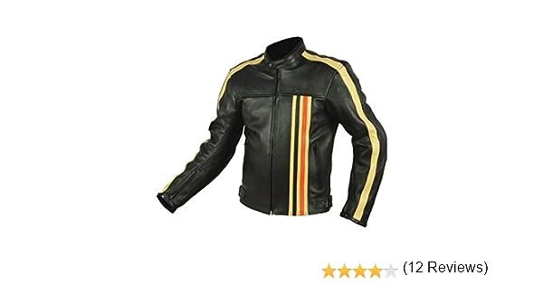 Noir//Orange RIDER-TEC Blouson Moto Cuir Vintage Homologu/é CE-13595 XL