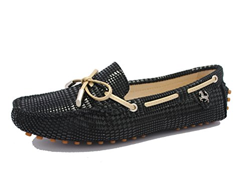 41DvSlIe2LL BEST BUY UK #1Minitoo TYB960 9 Womens Casual Snake print Knot Black/Stripe Synthetic Leather Driving Shoes Loafers Moccasin Flats 5 UK price Reviews uk