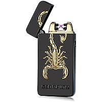 Kivors Briquet Classique USB Rechargeable Electrique Briquet sans Flamme avec Double Arc Anti Vent pour Cigarette (Noir)