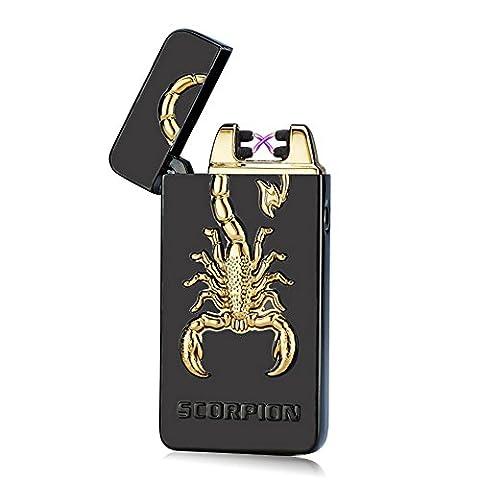 padgene® [Scorpions] 2016Neueste USB Zigarettenanzünder, wiederaufladbar elektrische Arc, flamless winddicht Cigar Torch Feuerzeug kein Gas, mit USB-Kabel für Geburtstag Geschenk schwarz schwarz