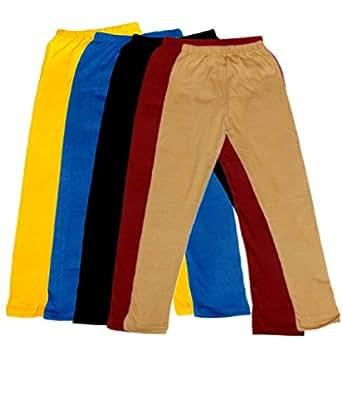 IndiWeaves Girls Super Soft Ankle Length Cotton Lycra Leggings (Pack of 5)_Black::Blue::Yellow::Multiple_1-3 Years