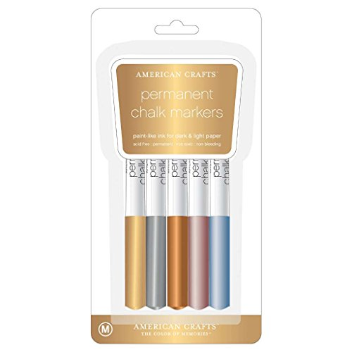 American Crafts Metallic Chalk Marker Set - Assorted Colors, Scrapbooking Accessory - Pack of 5 - American Crafts Metallic Marker
