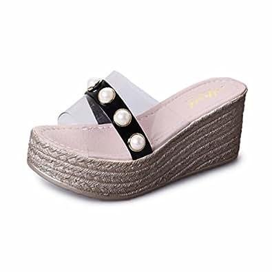 b2d417c05e28b Image indisponible. Image non disponible pour la couleur   Chaussures Compensées  Femmes Talons Hauts ...