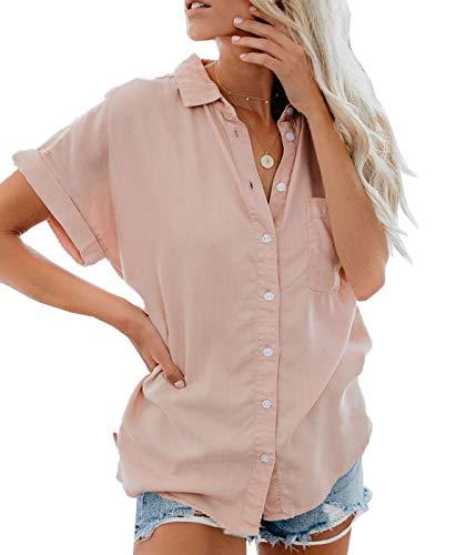 Lantch Damen Bluse Shirt Sommer Hemdbluse Kurzarm Hemd Tops Frauen Oberteile T-Shirt(pk,l)