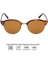 EySun Brand Half Rim-less Cateye Wayfarer Club Master Round Sunglasses For Women UV-Protected