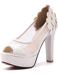 Aisun Damen Sexy Peep Toe KnöchelriemchenKeilabsatz Sandale Weiß 38 EU 7cje14D0