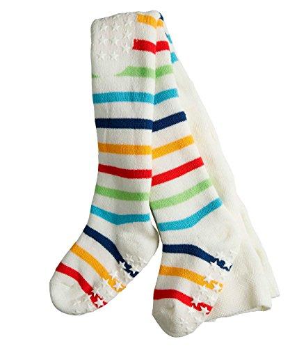 FALKE Unisex Baby Strumpfhose Multistripe, Gr. 62 (Herstellergröße: 62-68), Beige (offwhite-candy 2042)