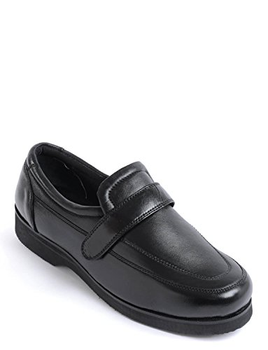 Hommes Cuir Véritable Chaussure Confort Réglable Noir