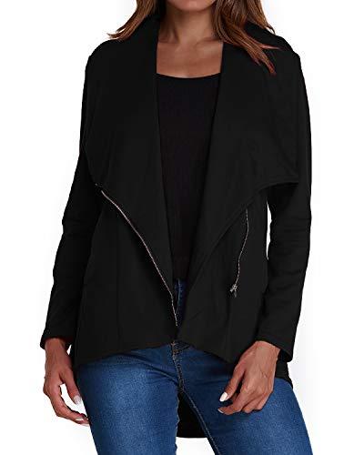 ACHIOOWA Jacke Damen Casual Langarm Revers Kurze Anzugjacke Offene Oversize Cardigan mit Taschen Schwarz-A01488 L -