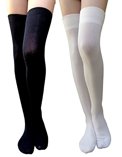 e93f70e16 Am landen 0639737576009 Cotton Over Knee Thigh High Socks Stockings Us Size  2 4 Black Khaki 2pairs - Price in India