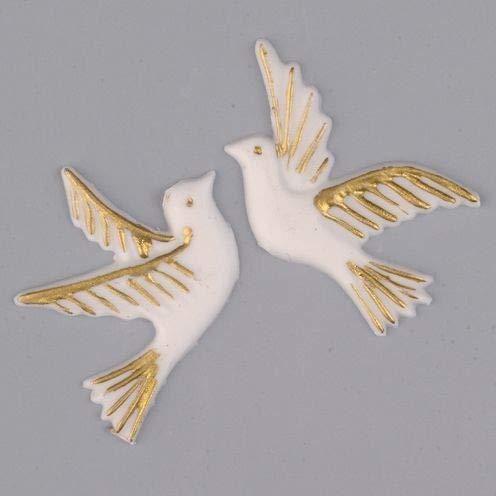 """EFCO """"Taube Paar Wachs Dekoration, Gold/Weiß, 40x 105mm, 2-teilig"""