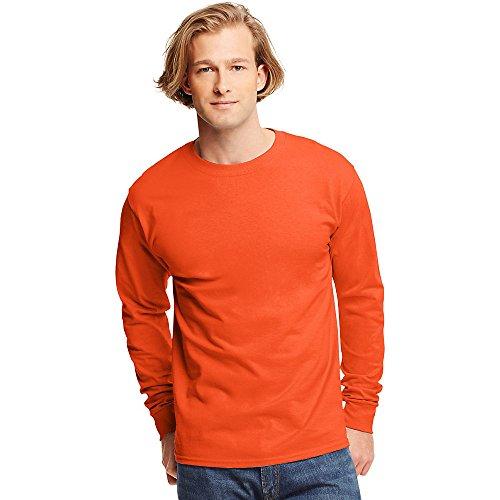 Sleeve Tagless Long Shirt Orange Hanes T ERqHzqA