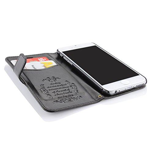 iPhone 6 6S Hülle, Urcover® Handytasche Case mit [ Magnet Kartenfach Stand-Funktion ] Cover Etui Klapp Schutzhülle Wallet für Apple iPhone 6 / 6S Braun Schwarz