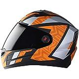 Steelbird SBA-1 Cesar Full Face Helmet in Matt Finish with Smoke Visor (Medium 580 MM, Matt Black/Orange)