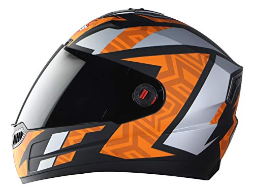 Steelbird SBA-1 Cesar Full Face Helmet in Matt Finish with Smoke Visor (Medium 580 MM, Matt Black/Orange)
