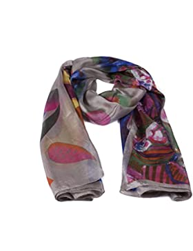 Italy Fulars Fular Pañuelo para Mujer 100% Seda Natural Diseñado en Italia Estampado Flores Tamaño Mediano