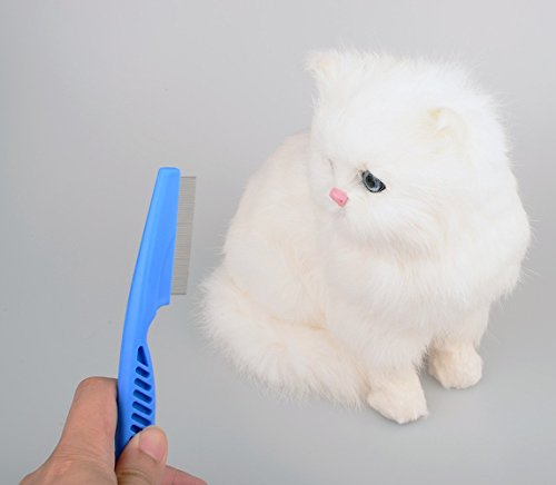 Zeltauto Flea Comb Lice Tick Remover Dog Cat Grooming Brush Zinc Alloy Toothed (Blue, 2 Pieces) 6