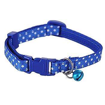 Collier de Chien Collier Chat avec Grelot Collier pour Petit Chien Collier Chiot de 21-32cm Nylon avec Pastilles Blanc(Bleu)