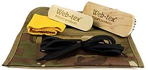 Web-tex - Kit de nettoyage pour bottes miliaires - 2 brosses, 1 chiffon, des lacets - Multicam original