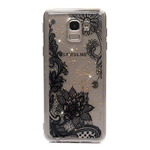 Glitzer Handyhülle für Samsung Galaxy J6 2018 Hülle Silikon Case Cover Transparent Tasche Dünn Durchsichtig Schutzhülle Handytasche Mädchen Skin Softcase Schale Bumper TPU Handycover Muster 8320-smartphone