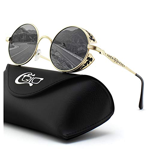 CGID E71 Steampunk estilo retro inspirado círculo metálico redondo gafas de sol polarizadas para hombres