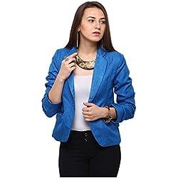 Yepme Women's Blue Poly Cotton Shirt - YPMBLZR5002_L