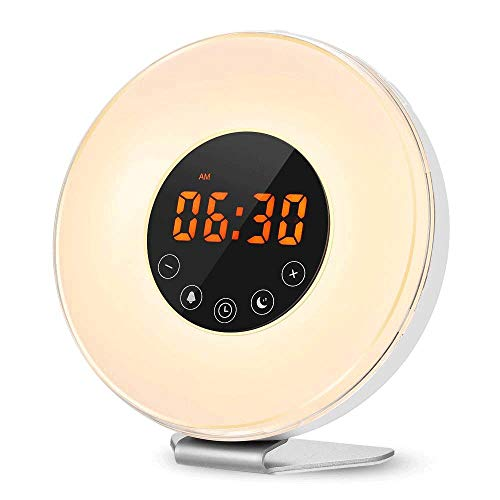 KIOio Reloj Despertador multifunción, 7 Luces de Noche Que cambian de Color, Radio FM, Control táctil, función de repetición, Cargador USB