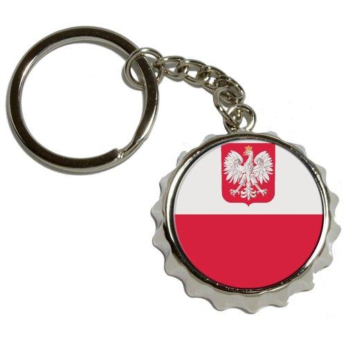 Preisvergleich Produktbild Polen polnische Flagge, Metall vernickelt Popcap Flaschenöffner Schlüsselanhänger