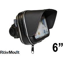 "RiderMount impermeable parasol 6 ""GPS SatNav funda con soporte de moto manillar de la motocicleta para Garmin TomTom de 6 pulgadas"
