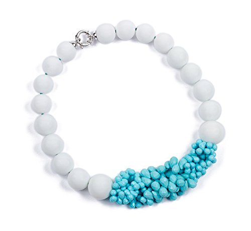 Marina MiyuHalskette aus weißem Achat, Silber und türkiser Paste (Tiffany Halskette T)