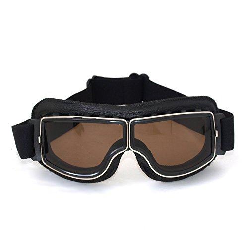 Vintage Motorradbrillen, FrohLila Motorradbrille Schutzbrille Fliegerbrille Aviator Pilot Motocross Biker Cruiser Helm Augenschutz Brille aus PC & PU Leder für Harley-Davidson Dyna Touring Trike Sportster XL Chopper, schwarz/Amber Brillenglas
