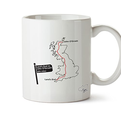 hippowarehouse Land 's End To John O 'Groats Route Karte (Gedruckt Auf der Rückseite) 284ml Tasse, keramik, weiß, One Size (10oz) (Radfahren Zyklus-fahrrad-jersey)