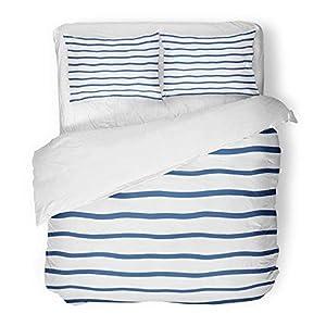 3-teiliges Bettbezugset Gebürstetes Mikrofasergewebe Wellenförmige Streifen...
