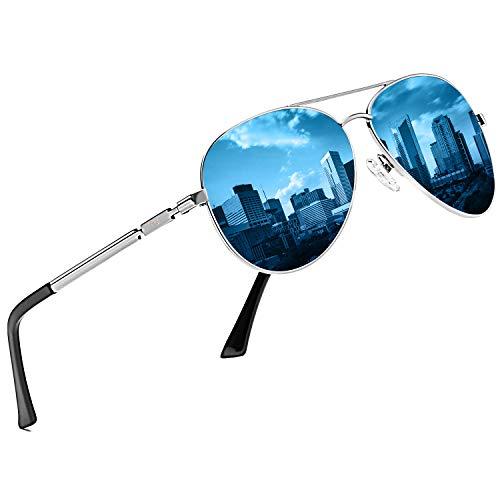 DUCO Coole Fliegerbrille Sonnenbrille Klassische Unisex Pilotenbrille UV400 Filterkategorie 3 CE 3025K (Gestell: Silber, Gläser: Blau)