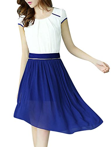 Damen Flügelärmel Unregelmäßig Saum Splice Wendbar Minikleid Königsblau